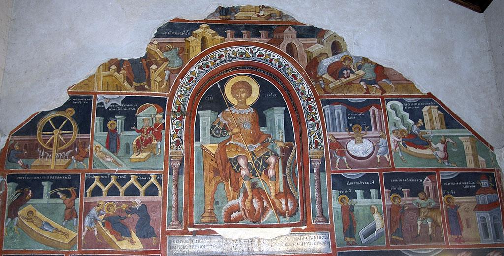 Стенопис на Св. Георги в Кремиковския манастир. Снимка © Мартин Митов